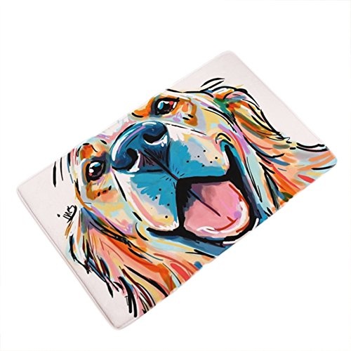 LANGUGU Home Garden Non-Skid / Slip Rubber Back Kitchen Mat Bath Rug Entrance Mat Golden retriever Dog Watercolor Machine Washable Indoor Outdoor Hallway Carpet by LANGUGU