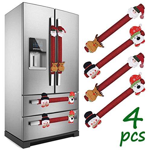 LimBridge Set of 4 Christmas Burlap Decorations 3D Refrigerator Door Handle Cover, For Double Door Fridge, Kitchen Microwave Dishwasher, Wine Red