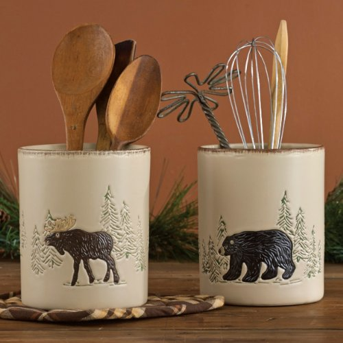 Bear & Moose Stoneware Utensil Holder - Wilderness Kitchen Tableware