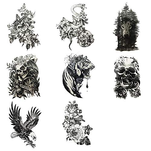Everjoy Large Sleeve Yakuza Temporary Tattoos - 8 Sheets, Black and White, Wild Jungle Animal, Dead Skull, Eagle Hawks, Blood Tiger, Wolf in Woods, Butterfly, Bird, Snake with Flower   (Day Of The Dead Skull Sleeve Tattoo Ideas)
