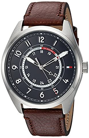 Tommy Hilfiger Men's 'Sport' Quartz Stainless Steel and Leather Casual Watch, Color:Brown (Model: (G Shock Gloss)