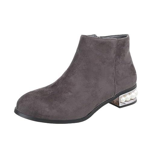 Zapatos para Mujer Botas Tacón Ancho Botines clásicos Gris Tamaño 40: Amazon.es: Zapatos y complementos