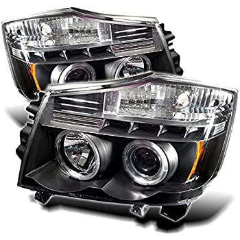 Spyder Auto Nissan Titan/Nissan Armada Black Halogen LED Projector Headlight