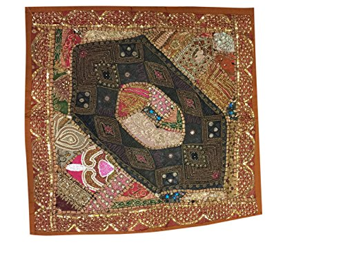 Decorative Throw Cushion Indian Patchwork Embroidered Sequin Beaded Cotton Brown Pillow Cover