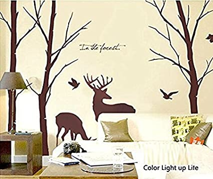 Superior Cukudy Deer Wall Decals Nature Brown Wall Decals Birch Tree Nursery Wall  Stickers (Trees Are