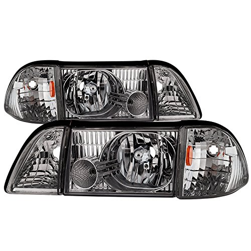 Jdragon for Ford 1987-1993 Mustang Chrome Replacement Headlights Corner Lamps Pair GT LX SVT ()