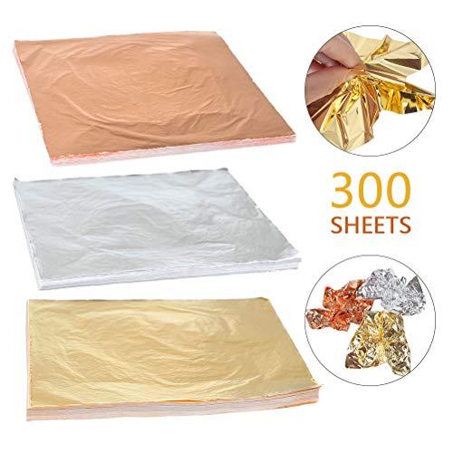 BUYGOO 300 Sheets Leaf Imitation Gold Leaf, Silver Leaf, Rose Gold Leaf for Arts, Gilding Crafting, Decoration, Furniture, 5.5 by 5.5 Inches