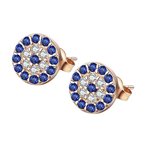 (Round Blue Evil Eye Stud Earrings Sterling Silver 925 Eardrop Cubic Zirconia Charms 6x6mm[Rose Gold])