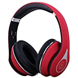 August EP640 - Bluetooth Wireless Stereo NFC Headphones - Over Ear Cordless Headphones with 3.5mm Wired Audio In, Rechargeable Battery, NFC Tap To Connect and built-in Microphone - Compatible with Cell Phones, Smartphones, Laptops, Tablets (Red)
