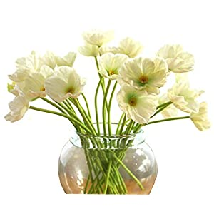 Tobway 10 PCS new arrivals high quaulity Fresh Artificial Mini Real Touch PU/ latex Corn Poppies Decorative Silk fake artificial poppy flowers for Wedding holiday Bridal Bouquet Home Party Decor bridesmaid bouquets 38