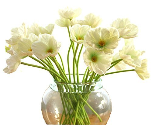 Tobway 10 PCS Artificial Mini Real Touch PU/ latex Corn Poppies Decorative Silk Fake Artificial Poppy Flowers for WeddingHoliday Bridal Bouquet Home Party Decor Bridesmaid Bouquets (White)