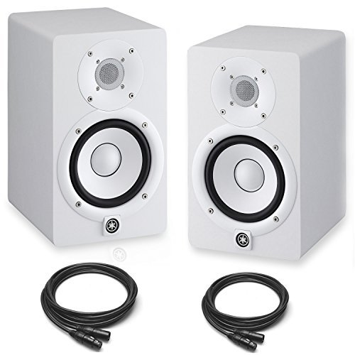 Yamaha HS7 Powered Studio Monitors Pair White w/ XLR Cables - Bundle by Yamaha