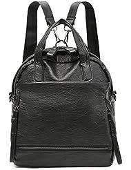 Forestfish 3-Ways Women Girls Backpack Shoulder Bag Handbag PU Leather for School Work Shopping Travel