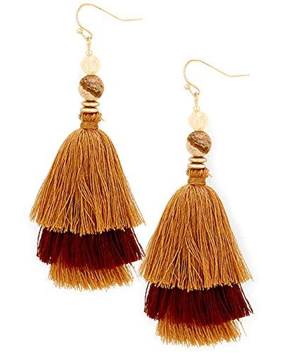 Two Earrings Brown Tone (Women's Beaded Two Tone Triple Layered Tassel Dangle Pierced Earrings, Brown)