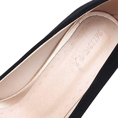 Tirare A Donna Ballerine Nero Plastica Medio VogueZone009 Tacco Scarpe Punta Puro A0BxnqqH