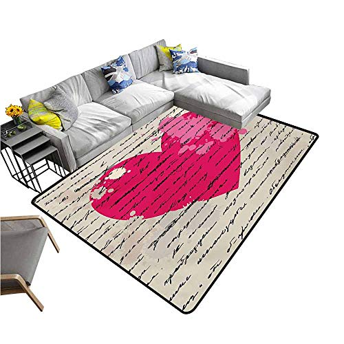 (Polyester Rubber Door Mats Love,Heart Design Elements Valentines Letter Handwriting Calligraphy Curve Style Print,Beige Magenta 64