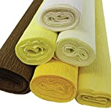 yellow party streamers - Just Artifacts Premium Crepe Paper Rolls - 8ft Length/20in Width (6pcs, Color Shades of Yellow)