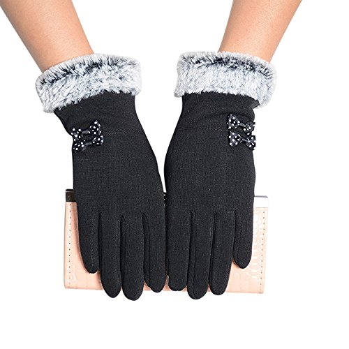 Loneflash 1Pair Fashion Women Lady Gloves Winter Warm Screen Riding Drove Mittens Gloves (Black) ()