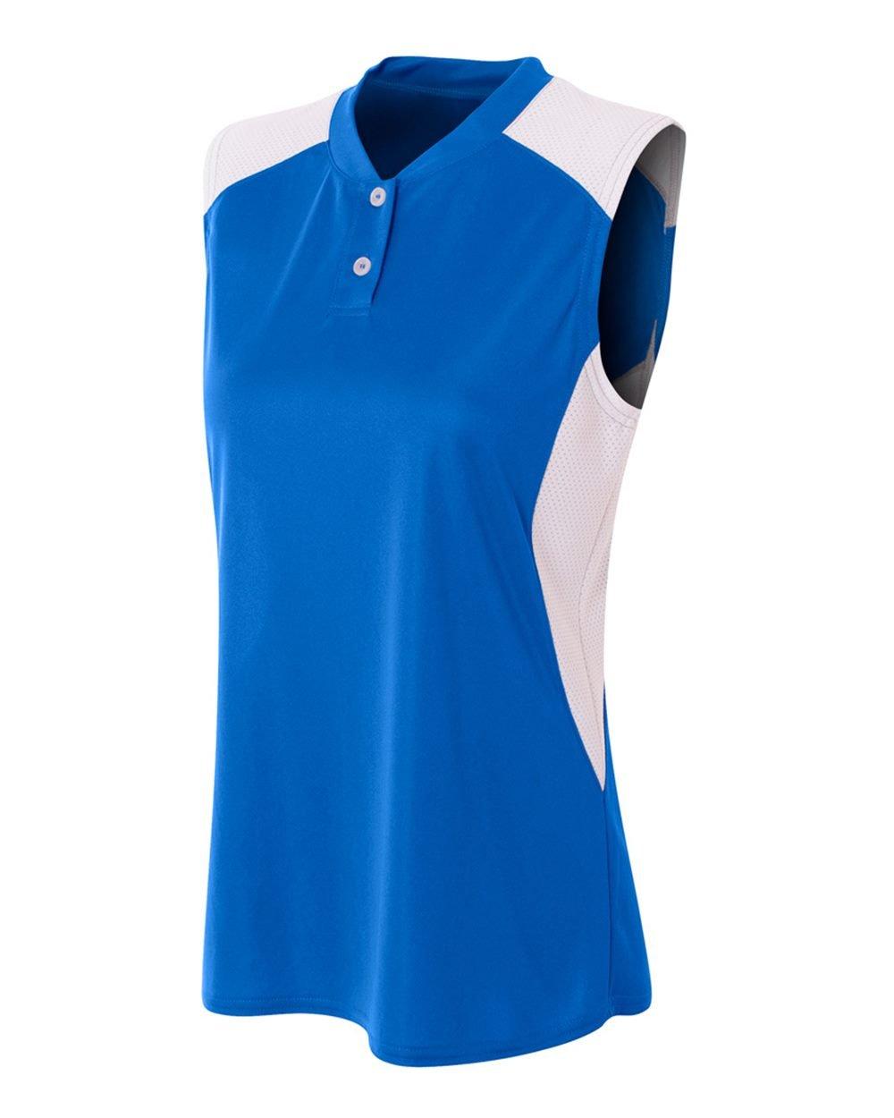 レディースノースリーブ2ボタンMoisture Wicking 2色アスレチックシャツ/ Uniform Jersey Top B01IC9P46A Women's M|ロイヤル/ホワイト ロイヤル/ホワイト Women's M
