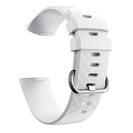for Fitbit Charge 3 Bands, Silicone Replacement Sport Band for Fitbit  Charge 3 Fitness Activity Tracker Smart Watch Women Men Large Small (White)