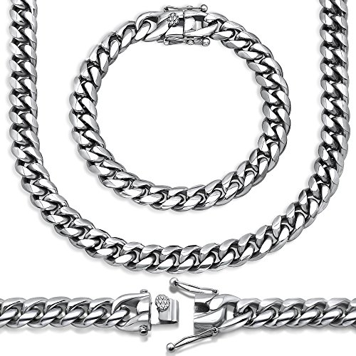 Sterling Manufacturers Premium Stainless Steel Heavy Solid Miami Cuban Link Chain. Secure Box Lock. (22, 10MM)