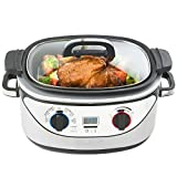 VonShef 8 in 1 Multi Cooker 5-Quart Stainless Steel – Slow Cook, Simmer, Sear, Roast, Bake, Steam & Warm