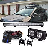 2011 toyota tundra grill guard - 36 Inch 234W Led Light Bar Grill Guard Roll Bar Push Bumper Canopy Roof Rack + 4In 18W Pods Cube Driving Fog Lights W/Rocker Switch For Dodge Truck RTV Golf Cart Boat Toyota Tacoma 4 Wheeler Chevy