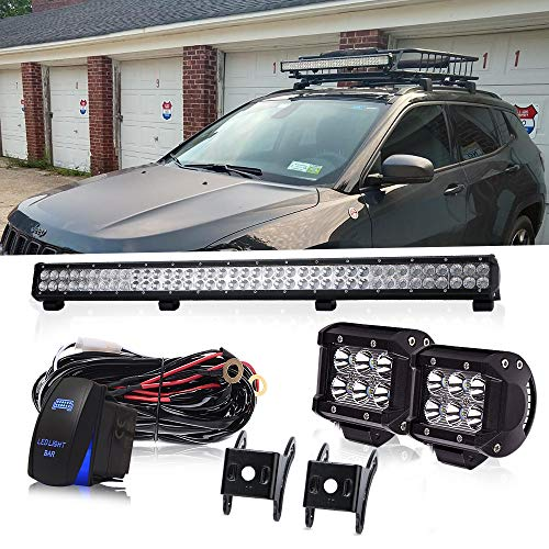 (36 Inch 234W Led Light Bar Grill Guard Roll Bar Push Bumper Canopy Roof Rack + 4In 18W Pods Cube Driving Fog Lights W/Rocker Switch For Dodge Truck RTV Golf Cart Boat Toyota Tacoma 4 Wheeler Chevy)