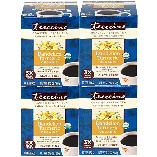 (Teeccino Dandelion Turmeric Organic Dandelion Root Roasted Herbal Tea, Caffeine Free, Gluten Free, Acid Free, Prebiotic, 10 Tea Bags (Pack of 4))