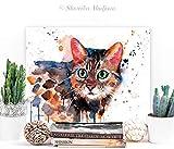 Bengal cat watercolor painting print by Slaveika Aladjova