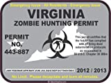 Virginia zombie hunting permit decal bumper sticker