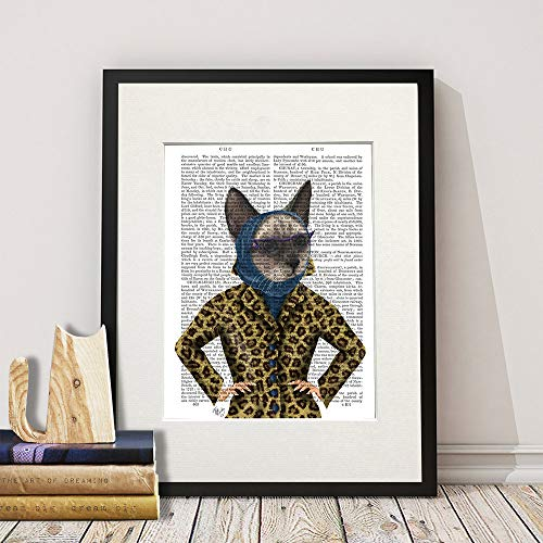 MalertaART Grey Cat with Leopard Jacket Glamour puss Fashion Print Teen Girl Gift cat Lover Gift Girls Room Decor Cool Kid Gift cat Glasses Teenager Framed Wall -