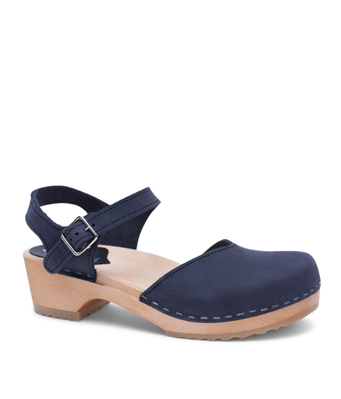 Sandgrens Swedish Wooden Low Heel Clog Sandals For Women | Saragasso In Navy, Size US 10 EU 40 by Sandgrens