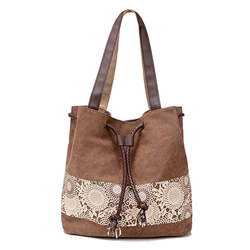 Lace Leather Tote (KARRESLY Retro Women's Casual Hobo Canvas Daily Printing Lace Bag Top Handle Shoulder Tote Mother's Day Gift)