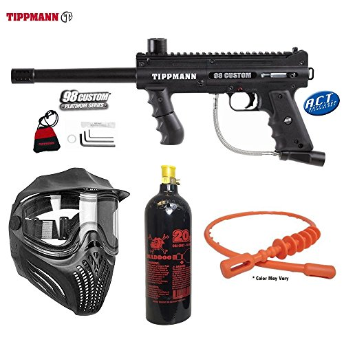 MAddog Tippmann 98 Custom ACT Paintball Marker w/Empire Helix Thermal Paintball Goggle and 20 Oz. Paintball Tank Combo Package - Black - Helix Thermal Goggle