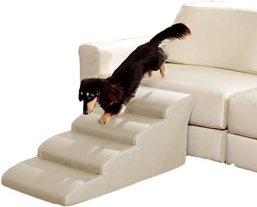 HWL Escaleras para Mascotas Rampa De Escaleras para Mascotas De 4 Escalones para Coche con Sofá Cama Alto, Escalera De Gatos Blanco para Perros con Respaldo Antideslizante/Cubierta Lavable Extraíble: Amazon.es: Productos para