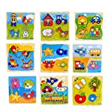 ThinIce Colorful Wooden Puzzle Wooden Educational Toys Preschool Gift for Toddler Baby Children
