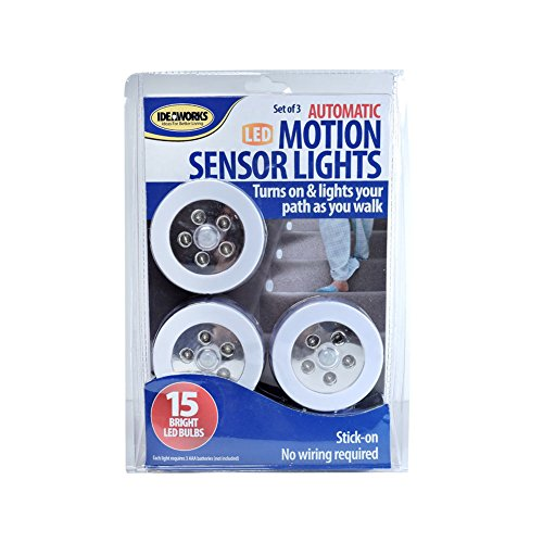 Jobar RET7556 S 3 LED Motion Sensor Light, White