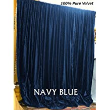 NAVY BLUE Velvet Curtains, 90 in W by 90 in H (ONE PANEL) Vinatge Velvet Curtain, Absolute Blackout, Sound proof, Window Curtains for Bedroom, Living-room, Home Theater, Hall