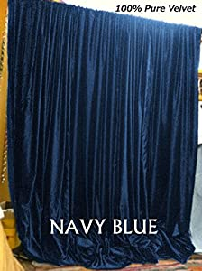 Amazon Com Navy Blue Thick Velvet Curtains Absolute