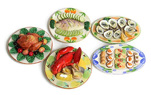 Dollhouse Miniature Food Thanksgiving Family Dinner Set -Set of 5- Premium Quality Unique Handcrafted Ceramic Tiny Fake Food, Barbie-Sized Food, Collectible Items