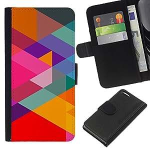 YiPhone /// Tirón de la caja Cartera de cuero con ranuras para tarjetas - Patrón Geometría del arco iris - Apple Iphone 5C