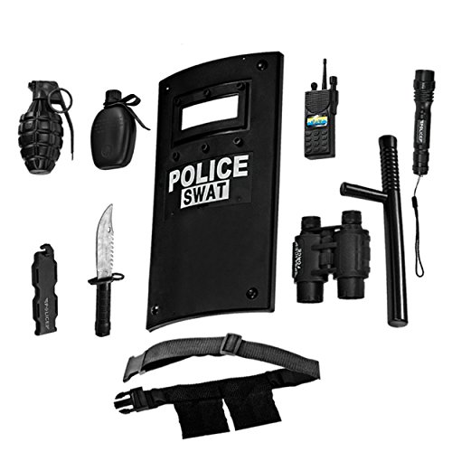 Officer Utility Belt For Police Costumes (Ultimate All-In-One Police Officer Role Play Set For Kids – Includes SWAT Shield, Adjustable Belt, Flashlight & More, Durable Plastic Construction, Police Force Halloween Uniform Accessories For Kids)