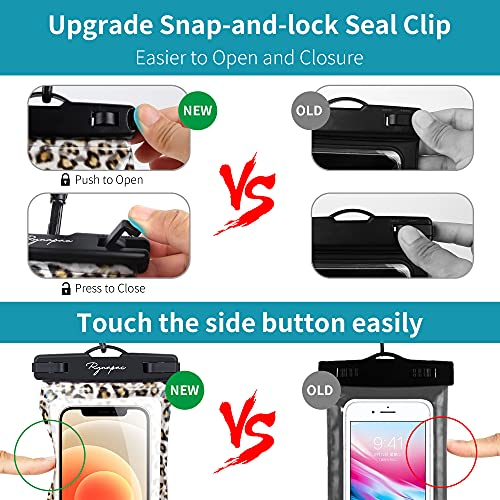 Rynapac Leopard Waterproof Phone Pouch for Women & Girl, Cellphone Pouch TPU Floating with Airbag, IPX8 Phone Case Universal Dry Bags, Up to 7'' for iPhone 11 12 Pro Max Etc, Beach Swimming Holder