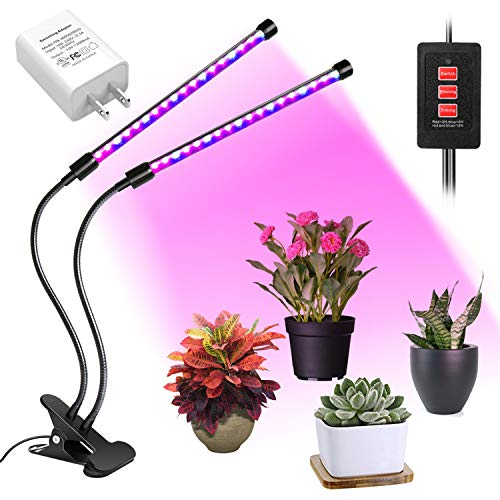 LED Grow Light Bulb Timing Function, Dual Head Grow Lamp for Indoor Plants Vegetables and Seedlings, Plant Lights Bulb for Hydroponics Garden Greenhouse and Organic Soil [2018 Upgraded] (Free Standing Grow Light)