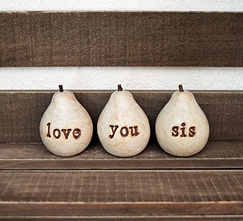 Love you sis pears, sister gift idea, hand stamped clay pears (Country French Pear)