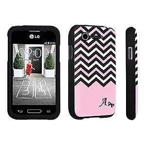 Zheng case LG L34C Optimus Fuel / LG Optimus Zone 2 VS415PP Hard Case Black - (Black Pink White Chevron A)