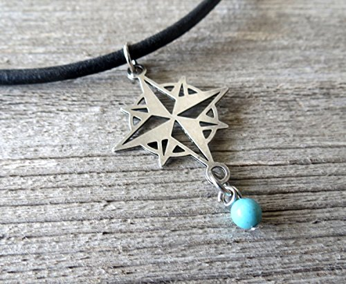 Handmade Black Leather Necklace For Men Set With Silver plated Compass Pendant and Turquoise Bead By Galis Jewelry - Compass Necklace For Men - Nautical Jewelry For Men