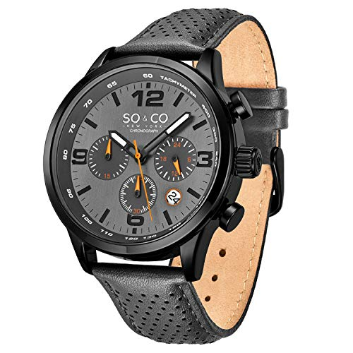 So&Co NY ''Trambusto'' - Sport, Leather Drivers Watches for Men - Chronograph and Tachymeter, Accessories (Grey Black)