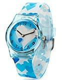 Zeiger Time Teacher Young Girls Children Teen Wrist Kids Watches, Cartoon Character Heart Shape Band (Blue)